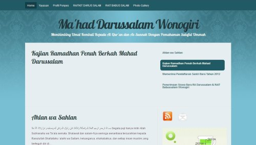 Screenshot Website Ma'had Darussalam As Salafy Wonogiri